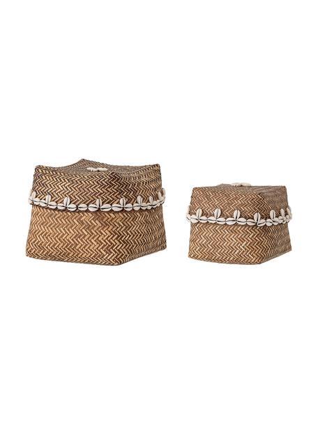 Set de cestas Lidia, 2uds., Cesta: bambú, Marrón, beige, Set de diferentes tamaños