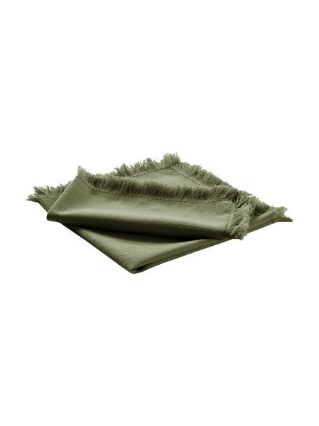 Tovagliolo in tessuto con frange Henley 2 pz, 100% cotone, Verde oliva, Larg. 45 x Lung. 45 cm