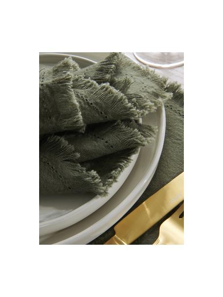 Stoff-Servietten Henley mit Fransen, 2 Stück, 100% Baumwolle, Olivgrün, 45 x 45 cm