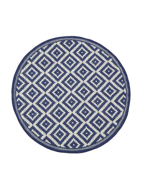 Dywan wewnętrzny/zewnętrzny Miami, 86% polipropylen, 14% poliester, Biały, niebieski, Ø 140 cm (Rozmiar M)
