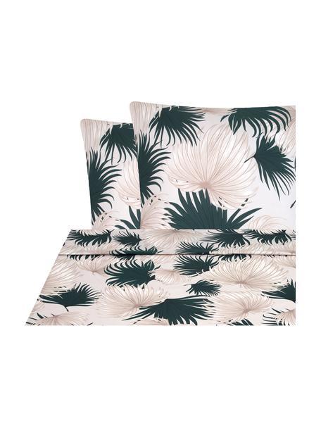 Sábana encimera de satén Aloha, Beige, verde, Cama 150/160 cm (240 x L 270 cm)