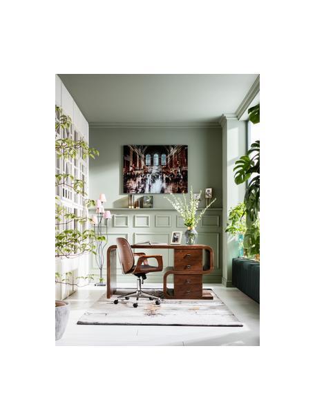 Biurowe krzesło obrotowe ze sztucznej skóry Patron, Tapicerka: poliuretan, Nogi: metal malowany proszkowo, Brązowy, czarny, S 67 x G 56 cm