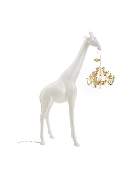 Lámpara de pie pequeña de diseño Giraffe in Love, Pantalla: plástico, Lámpara: plástico, Cable: plástico, Blanco, dorado, An 60 x Al 100 cm
