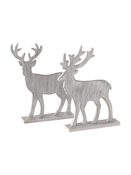 Set 2 oggetti decorativi Kigan, Pannello di fibra a media densità (MDF), Grigio chiaro, Larg. 24 x Alt. 30 cm