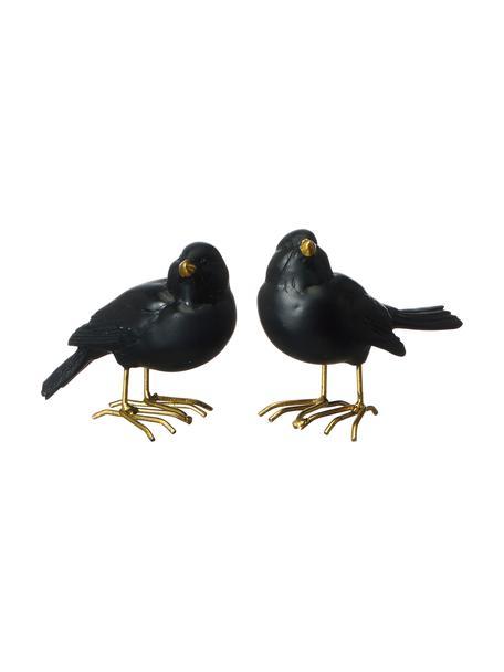 Deko-Objekt-Set Blackbird, 2-tlg., Polyresin, lackiert, Schwarz, 9 x 7 cm