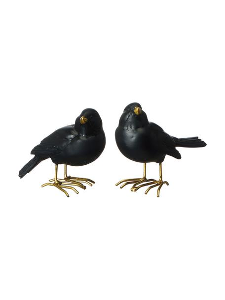 Komplet dekoracji Blackbird, 2 elem., Poliresing lakierowany, Czarny, S 9 x W 7 cm