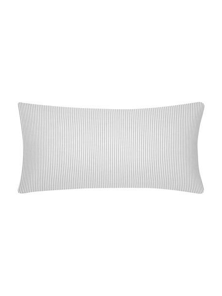 Baumwoll-Kissenbezüge Ellie in Weiß/Grau, fein gestreift, 2 Stück, Webart: Renforcé Fadendichte 118 , Weiß, Grau, 40 x 80 cm