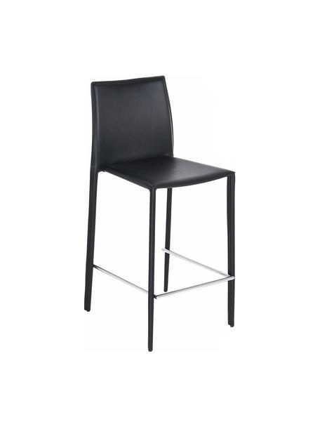 Sedia da bar in pelle Boréalys 2 pz, Struttura: metallo verniciato a polv, Nero, Larg. 44 x Alt. 98 cm