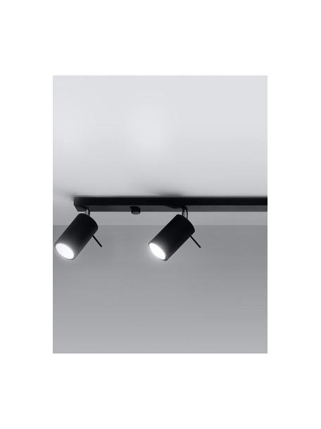 Plafondspot Etna in zwart, Lampenkap: gecoat staal, Baldakijn: gecoat staal, Zwart, 81 x 16 cm