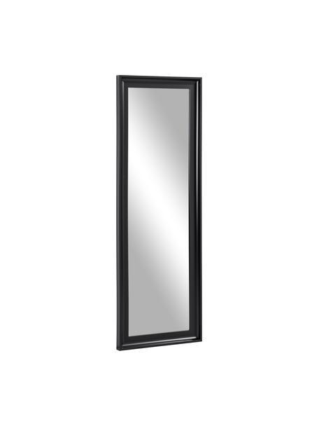 Specchio da parete con cornice in plastica nera Romila, Cornice: materiale sintetico, Retro: pannelli di fibra a media, Superficie dello specchio: lastra di vetro, Nero, Larg. 52 x Alt. 153 cm
