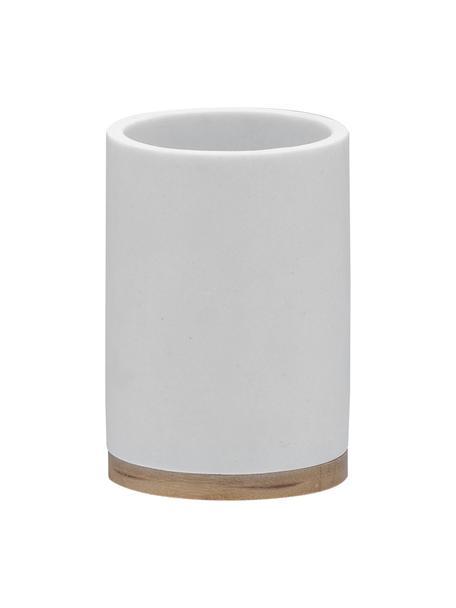 Porta spazzolini con decorazione in legno di bambù Grace, Recipiente: poliresina, Bianco, Ø 7 x Alt. 11 cm