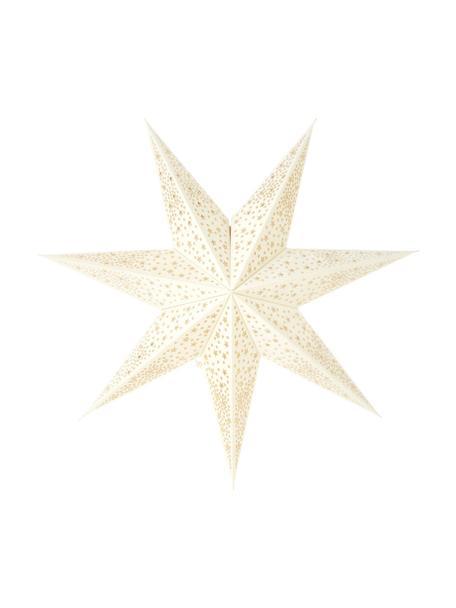 Stella natalizia in velluto bianco crema Orby, Carta vellutata, Bianco crema, dorato, Ø 45 cm
