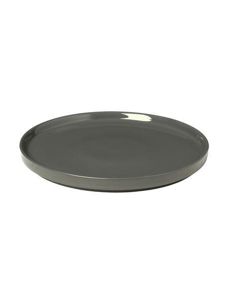 Piattino da dessert grigio scuro opaco/lucido Pliar 6 pz, Ceramica, Grigio scuro, Ø 20 cm