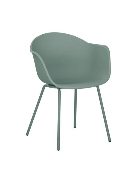 Sedia con braccioli in plastica con gambe in metallo Claire, Seduta: materiale sintetico, Gambe: metallo verniciato a polv, Verde, Larg. 60 x Alt. 54 cm