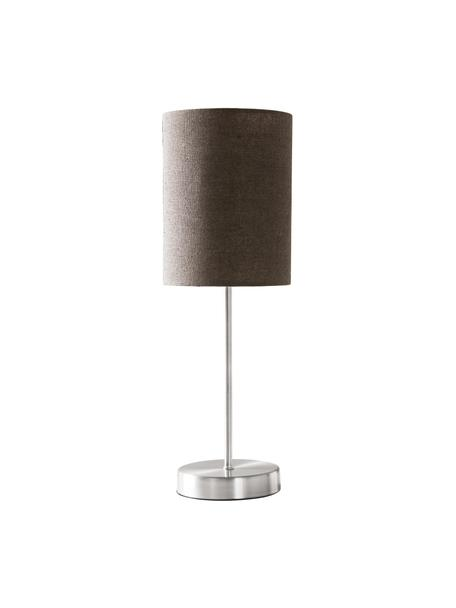 Tischlampen Seth mit Lampenschirm aus Textil, 2 Stück, Lampenschirm: Textil, Lampenfuß: Metall, vernickelt, Grau, Nickelfarben, Ø 15 x H 45 cm