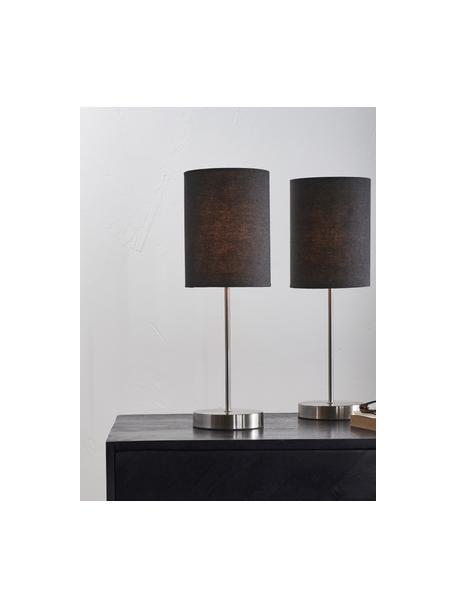 Klassische Nachttischlampen Seth, 2 Stück, Lampenschirm: Textil, Lampenfuß: Metall, vernickelt, Grau, Nickelfarben, Ø 15 x H 45 cm
