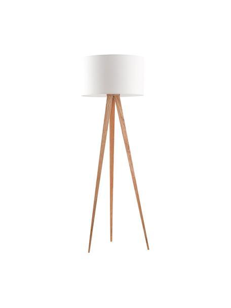 Lampada da terra con base in legno Tripod, Base della lampada: metallo con impiallacciat, Paralume: poliestere, Bianco, impiallacciatura in quercia, Ø 50 x Alt. 157 cm