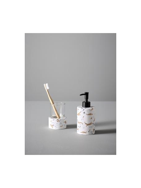 Badkamer accessoiresset Kenzie, 2-delig, Polyresin, glas, Wit, goudkleurig, grijs, Set met verschillende formaten