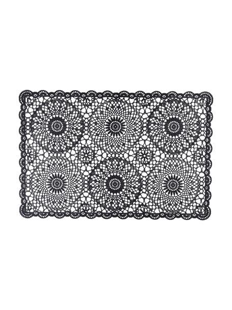 Kunststoffen placemats Crochet, 4 stuks, Kunststof (PVC), Zwart, 20 x 35 cm