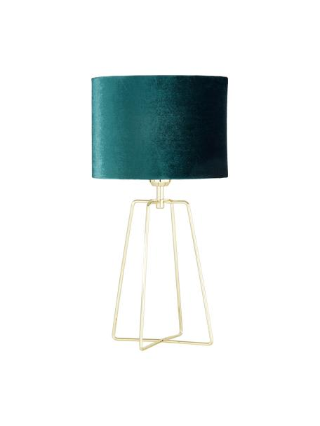 Fluwelen tafellamp Karolina, Lampenkap: fluweel, Lampvoet: vermessingd metaal, Donkergroen messing, glanzend transparant, Ø 25 x H 49 cm