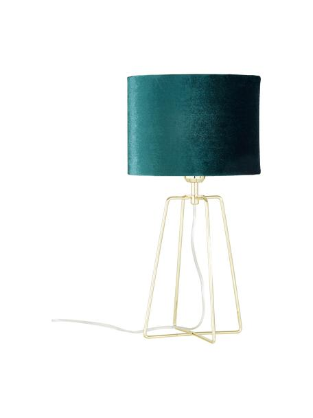 Fluwelen tafellamp Karolina in petrolblauw, Lampenkap: fluweel, Lampvoet: vermessingd metaal, Donkergroen messing, glanzend transparant, Ø 25 x H 49 cm