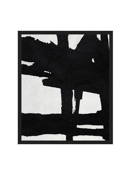 Lámina decorativa Abstract Black, Negro, blanco, An 53 x Al 63 cm