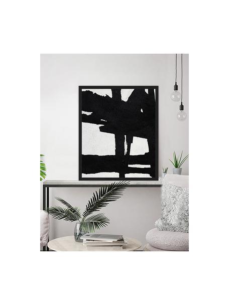Oprawiony druk cyfrowy Abstract Black, Czarny, biały, S 53 x W 63 cm