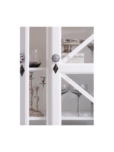 Handgefertigter Kerzenhalter Elle, Metall, beschichtet, Silberfarben, 23 x 26 cm