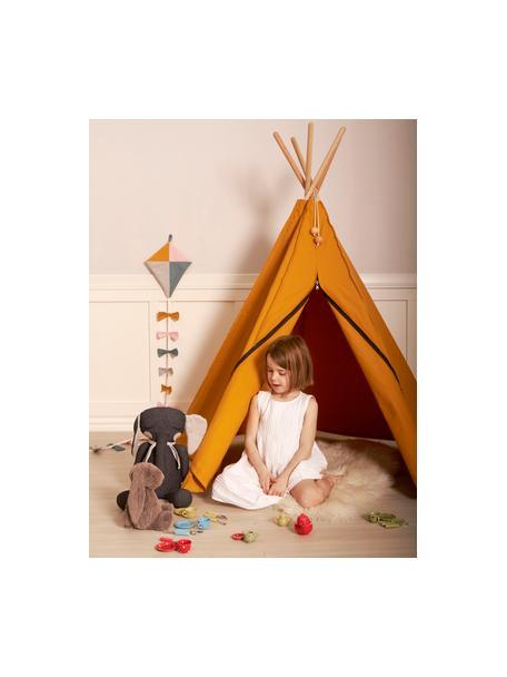 Tenda indiana in cotone organico Hippie, 100% cotone organico, Giallo ocra, Larg. 135 x Alt. 135 cm