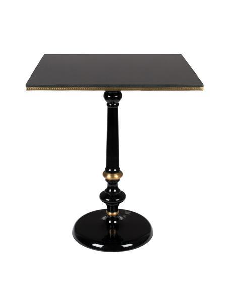 Tavolo con piano in pietra Own The Glow, Piano d'appoggio: pietra di granito, Gambe: alluminio verniciato a po, Nero, dorato, Larg. 65 x Alt. 76 cm