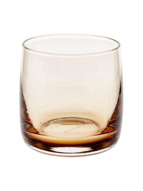 Ręcznie wykonana szklanka do wody Colored, 6 szt., Szkło, Odcienie bursztynowego, transparentny, Ø 8 x W 8 cm