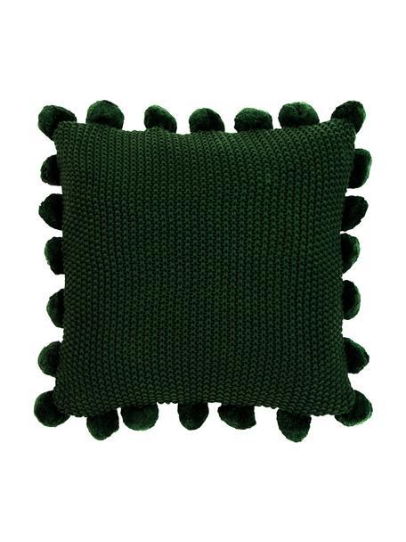 Federa arredo fatta a maglia con pompon Molly, 100% cotone, Verde scuro, Larg. 40 x Lung. 40 cm