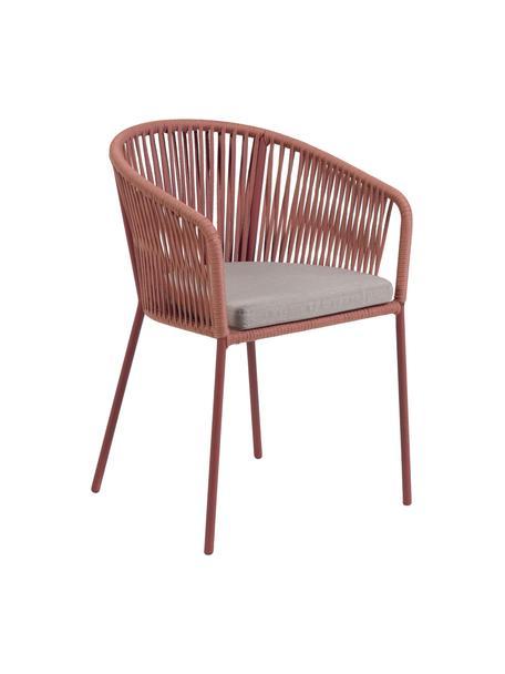 Krzesło ogrodowe Yanet, Stelaż: metal, ocynkowany i lakie, Tapicerka: poliester, Terakota, S 56 x G 51 cm