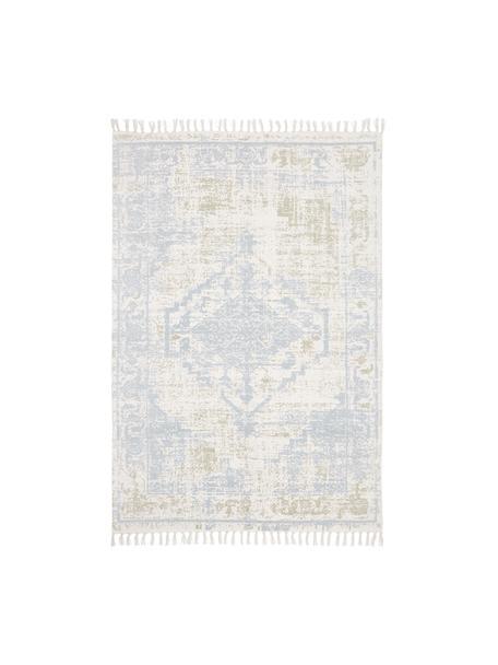 Dünner Baumwollteppich Jasmine in Beige/Blau im Vintage-Style, handgewebt, Beige, Blau, B 50 x L 80 cm (Grösse XXS)
