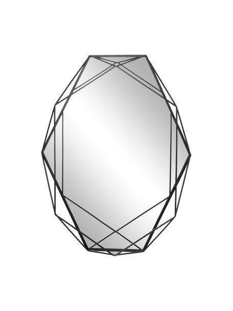 Ovaler Wandspiegel Prisma mit schwarzem Stahlrahmen, Rahmen: Stahl, lackiert, Spiegelfläche: Spiegelglas, Schwarz, 43 x 57 cm