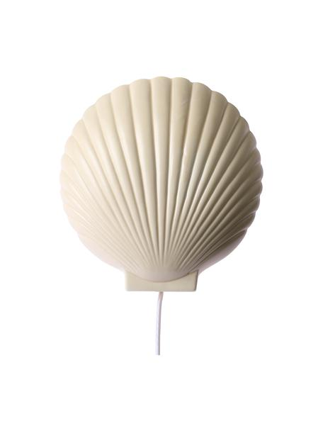 Wandlamp Shell van keramiek met stekker, Lampenkap: keramiek, Pastel geel, 19 x 21 cm