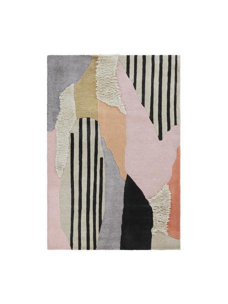 Handgetuft hoogpolig wollen vloerkleed Bobo met gekleurd abstract patroon, 74% wol, 24% viscose, Multicolour, B 160 x L 230 cm (maat M)
