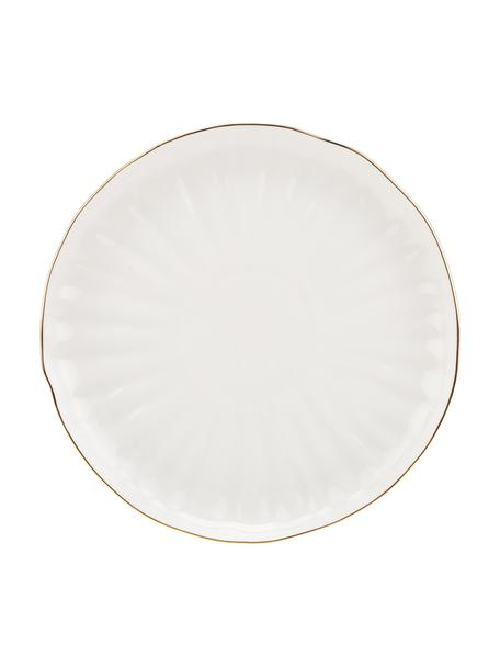 Dinerborden Sali van porselein met goudkleurig rand en reliëf, 2 stuks, Porselein, Wit, Ø 26 cm