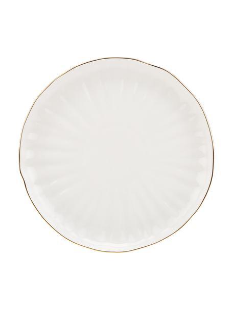 Piatto piano in porcellana con bordo dorato Sali 2 pz, Porcellana, Bianco, Ø 26 cm