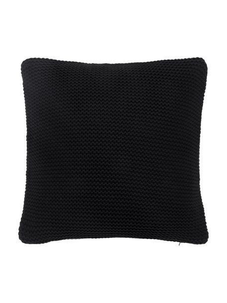 Gebreide kussenhoes Adalyn in zwart, 100% katoen, Zwart, 40 x 40 cm