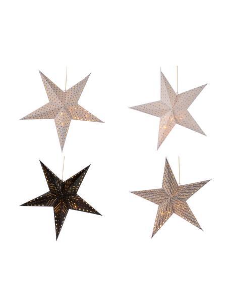 Komplet gwiazd z papieru LED zasilanych na baterie Bao, 4 elem., Papier, Biały, czarny, Ø 60 cm
