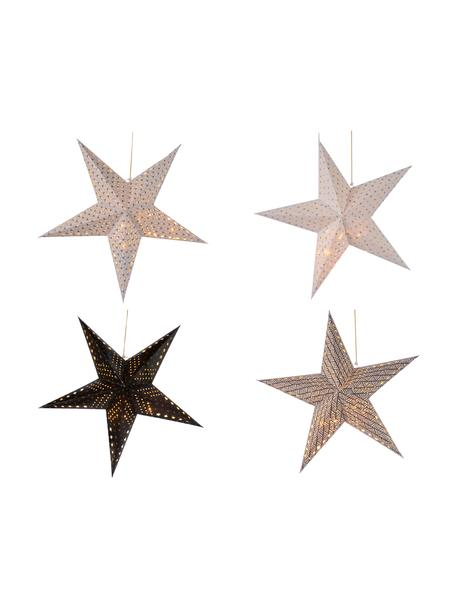 Papieren LED sterrenset Bao, 4-delig, Papier, Wit, zwart, Ø 60 cm