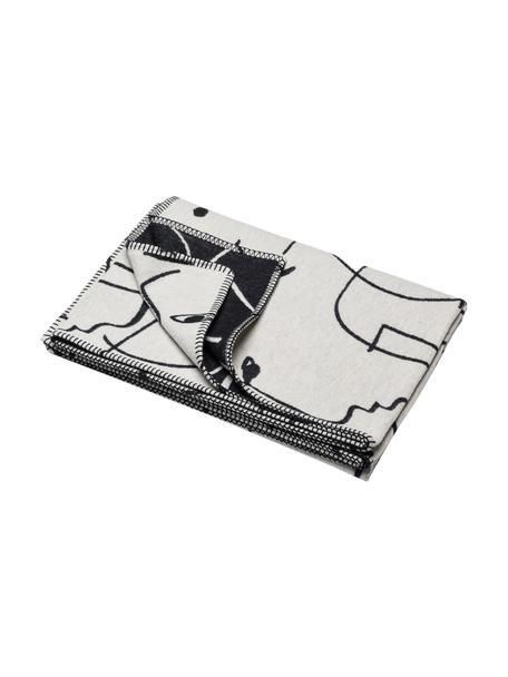 Coperta in cotone con disegno One Line Faces, 85% cotone, 15% poliacrilico, Bianco, nero, Larg. 140 x Lung. 200 cm