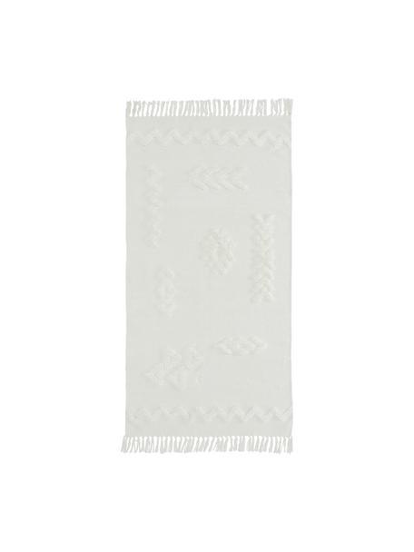 Handgeweven katoenen vloerkleed Chio met hoog-laag structuur en franjes, 100% katoen, Crèmekleurig, B 80 x L 150 cm (maat XS)