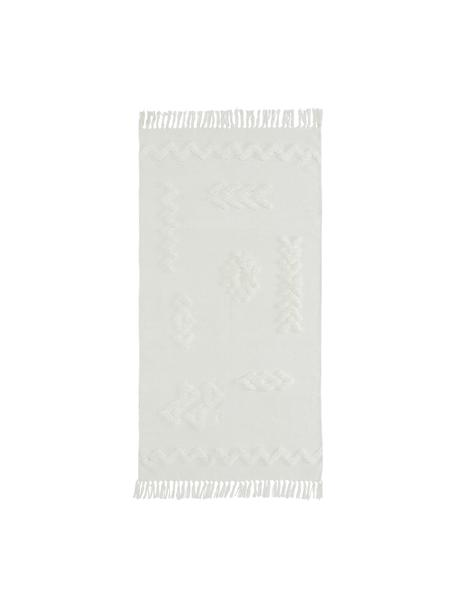 Ręcznie tkany dywan z bawełny z frędzlami Chio, 100% bawełna, Kremowy, S 80 x D 150 cm (Rozmiar XS)