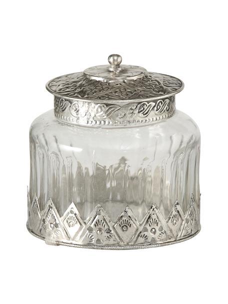 Glazen opbergpot Cosa in vintage stijl, Glas, metaal, Transparant, Ø 12 x H 13 cm