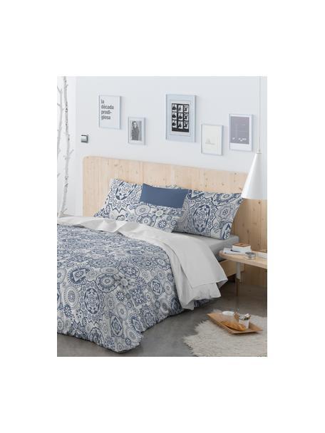 Parure copripiumino in cotone Morris, Cotone, Fronte: blu, bianco Retro: bianco, 155 x 200 cm