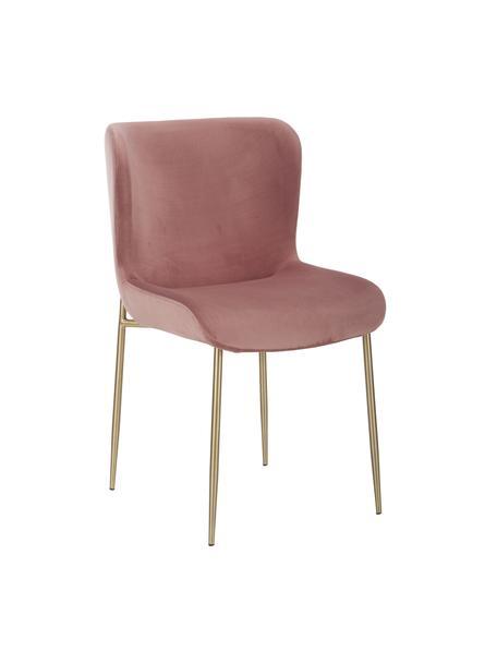 Krzesło tapicerowane z aksamitu Tess, Tapicerka: aksamit (poliester) Dzięk, Nogi: metal powlekany, Aksamitny brudny różowy, nogi: złoty, S 49 x G 64 cm