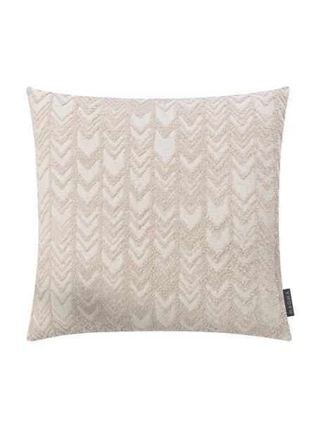 Kussenhoes Tilas met hoog-laag patroon & fluwelen achterzijde, Weeftechniek: jacquard, Beige, crèmekleurig, 40 x 40 cm