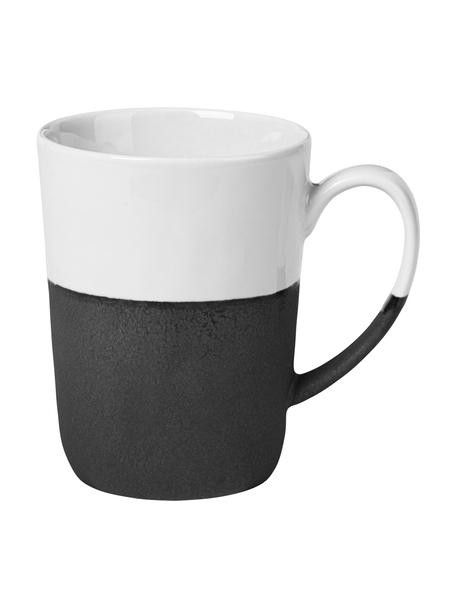 Tazza opaca/lucida fatta a mano Esrum 4 pz, Sotto: gres naturale, Color avorio, grigio-marrone, 250 ml